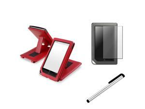 eForCity Silver Universal Touch Screen Stylus + Red Leather Case with Stand + Reusable Screen Protector Bundle Compatible ...