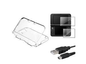 eForCity Clear Crystal Skin Case+2-LCD Screen Film+USB Charging Cable For Nintendo 3DS XL