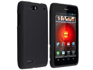 Snap-on Rubber Coated Case compatible with Motorola Droid 4, Black
