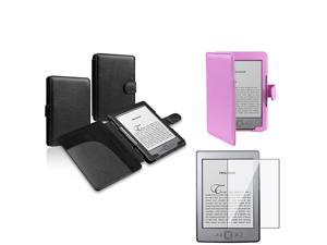 Amazon Kindle 4 Leather Cover Case BLACK + PURPLE with Screen Protector