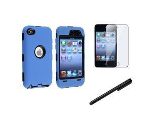 eForCity 3-Piece Blue Deluxe Hybrid Case + Black Stylus + Guard For Apple iPod Touch 4th Gen 4 4G