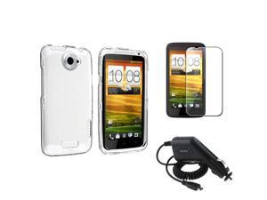 eForCity Clear Crystal Hard Phone Case Cover+Car Charger+Clear SP Compatible with AT&T HTC One X XL