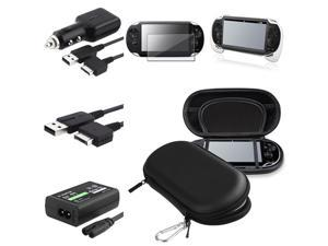 eForCity Black Eva Case + White Hand Grip + Screen Protector Bundle Compatible With Sony Playstation Vita