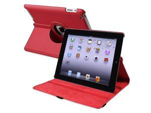 eForCity 360-degree Swivel Leather Case Compatible with Apple® iPad 4 / iPad with Retina display, Red