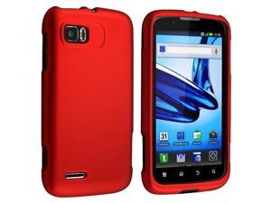 Snap-on Rubber Coated Case compatible with Motorola Atrix 2 MB865, Red