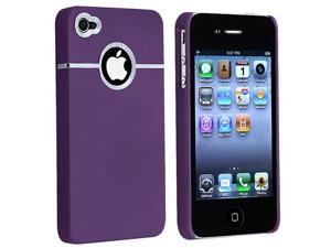 eForCity Snap-in Rubber Coated Case compatible with Apple® iPhone 4 / 4S, Purple with Chrome Hole