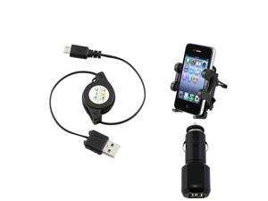 eForCity 3-in-1 Air Vent Mount + Black 2-Port USB DC Charger Compatible with Samsung© Galaxy SIV S4 i9500