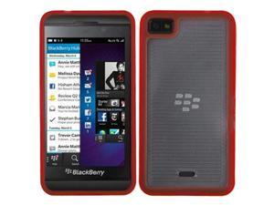 MYBAT Horizontal Stripes Transparent Clear/Solid Red Blue Gummy Cover Compatible With BLACKBERRY Z10