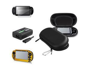 eForCity Black Eva Case + Gold Aluminum Case + Reusable Screen Protector Bundle Compatible With Sony Playstation Vita