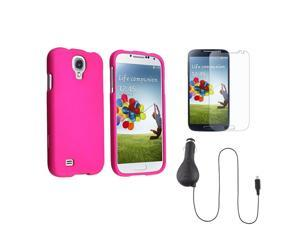 eForCity Pink Hard Case + Matte Screen Protector + Retractable Car Charger Compatible with Samsung© Galaxy S4 4 i9500