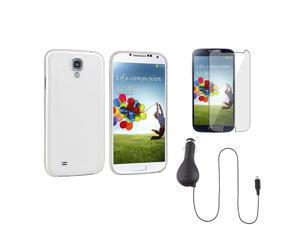 eForCity Clear White Hard Case + Clear LCD Protector + DC Car Charger Compatible with Samsung© Galaxy S IV S4 i9500