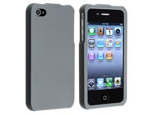 eForCity Snap-On Rubber Coated Case Compatible With Apple® iPhone 4 / 4S /Smoke