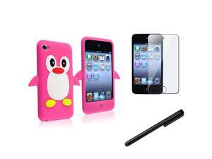 eForCity Reusable Screen Protector + Hot Pink Penguin Penguin Silicone Skin Case + Black Universal Touch Screen Stylus Bundle ...