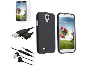 Samsung Galaxy S4 i9500 Accessories Bundle Kit - Case, Reusable Screen Protector, Mirco USB Cable, Headset with Mic