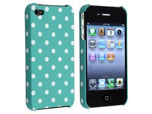 eForCity Snap-On Rubber Coated Case Compatible With Apple iPhone 4 / 4S, Blue-Green With White Dot