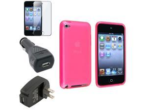 eForCity Pink Case Skin+2 Chargers+Cover Accessory For Apple® iPod Touch 4th Gen 4G 32GB