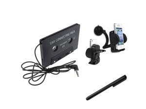 eForCity In Car Cassette + Holder + Black Stylus Compatible with Samsung© Galaxy S4 S3 i9300 i9500 N7100