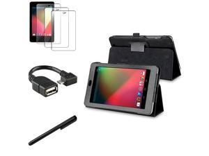 eForCity Black Leather Case Stand + 1x Film + Stylus + Micro USB OTG Adapter For Google Nexus 7 (2012 version)