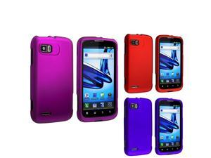eForCity 3 Packs Of Snap On Hard Rubber Cases - Purple / Red / Blue Compatible With Motorola Atrix 2 Mb865