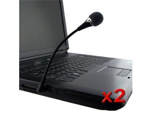 eForCity 2-Pack Flexible Black Mini Microphone Mic For PC Laptop Notebook