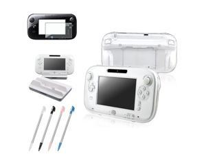 eForCity 4-in-1 Combo for Nintendo Wii U (Clear Crystal Case + White Cradle Charging Station + Screen Protector + 4-Pack ...