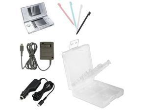 eForCity White Game Card Case 16-in-1 + 2-LCD Kit Screen Protector + Blue / White / Black / Pink 4 Pc Stylus Bundle Compatible ...