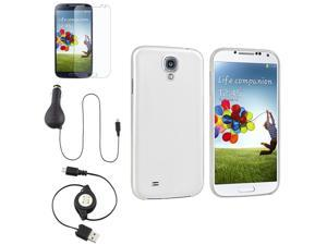eForCity Clear White Hard Case + Car Charger + USB Cable + Matte LCD Compatible with Samsung© Galaxy S IV S4 i9500