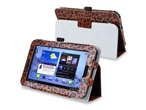 eForCity Leather Case Cover with Stand Compatible with Samsung Galaxy Tab 2 7.0 P3100/ P3110, Brown Leopard