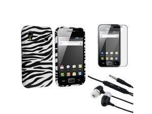 eForCity Black Universal 3.5mm In-Ear Stereo Headset w/On-off & Mic + Black/White Zebra TPU Rubber Skin Case + Reusable Screen ...
