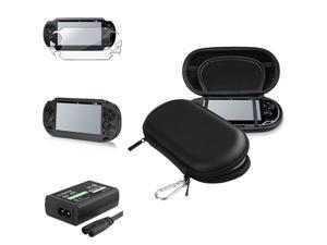 eForCity For PS Vita Black EVA Case+Black Aluminum Case+Full Screen Guard+Travel Charger