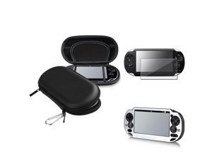eForCity Silver Aluminum Case + Reusable Screen Protector + Black Eva Case Bundle Compatible With Sony Playstation Vita