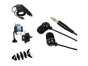 eForCity Car Holder + DC Charger + Headset + Fishbone Wrap Compatible with Samsung© Galaxy S4 S IV i9500 S 4