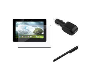 eForCity Black Touch Screen Stylus + Reusable Screen Protector + Black USB Car Charger Compatible With ASUS eee Pad Transformer ...