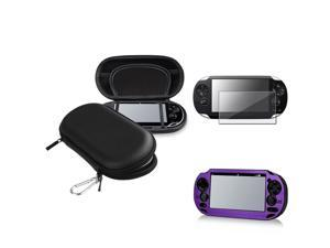 eForCity Purple Aluminum Case + Reusable Screen Protector + Black Eva Case Bundle Compatible With Sony Playstation Vita