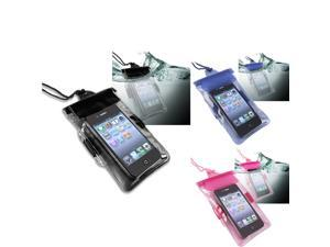 eForCity 3 Packs Of Universal Waterproof Bag Cases: Black / Blue / Hot Pink Compatible With Cell Phone / Pda With Size Of ...