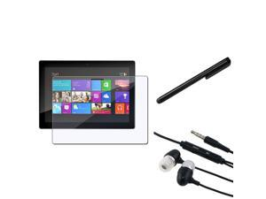 eForCity Black 3.5mm In-Ear Stereo Headset w/On-off & Mic + Black Touch Screen Stylus + Reusable Screen Protector Compatible ...