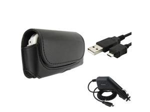 Black Horizontal Leather Case + Data Cable + Car Charger compatible with LG VX9600 Versa