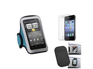 eForCity Film + Mat + Blue Sports Running Armband Case compatible with Apple® iPhone 4 4G 4S