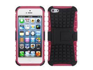 MYBAT Rubberized Advanced Armor Stand Protector Case compatible with Apple® iPhone 5 5S, Black/Hot Pink