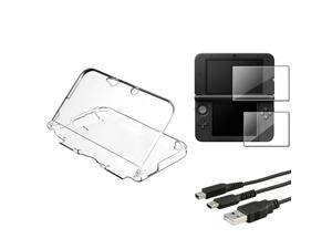 eForCity 2-LCD Kit Reusable Screen Protector + Clear Crystal Case + Black Charging Cable Bundle Compatible With Nintendo ...