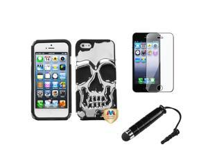 eForCity Film + Mini Stylus + compatible with Apple® iPhone 5 Case Hard Skullcap Hybrid Rubber Silver Plating/Black