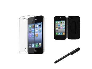 eForCity Black/Black Symbiosis Stand Protector Case Cover + LCD Cover + Stylus compatible with Apple® iPhone 4G 4S