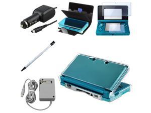 eForCity 7 Items Leather Case+Cystal Case+Car+AC Charger+Screen Guard For Nintendo 3DS