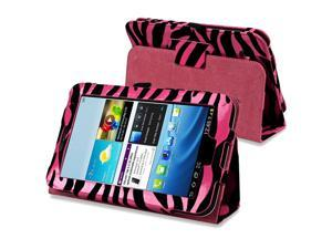 eForCity Leather Case with Stand Compatible with Samsung Galaxy Tab 2 7.0/ P3100/ P3110, Hot Pink/ Black Zebra
