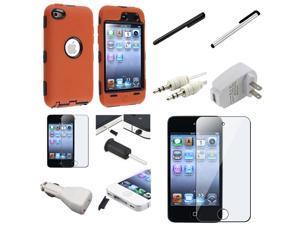 eForCity Orange Skin Black Hard Case+10X Accessory Bundle For Apple® iPod Touch 4th Gen 4G 4