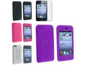 4 Soft Silicone Skin Cases with 1 Screen Protector Compatible With iPod touch 2 (Purple + Black + Clear + Pink)