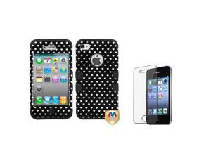 eForCity Black Vintage Heart Dots/Black TUFF Hybrid Case +LCD cover compatible with Apple® iPhone 4S/4