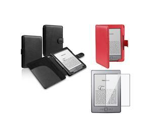Black + Red Leather Case with Clear Screen Protector for Amazon Kindle 4