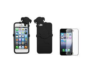 eForCity Cute Black Dog Peeking Pets Rubber Silicone Case Cover Skin +LCD cover compatible with Apple® iPhone 5 5S g