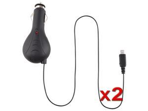 Two 2X Retractable Car Charger Compatible With Blackberry 8530 8520